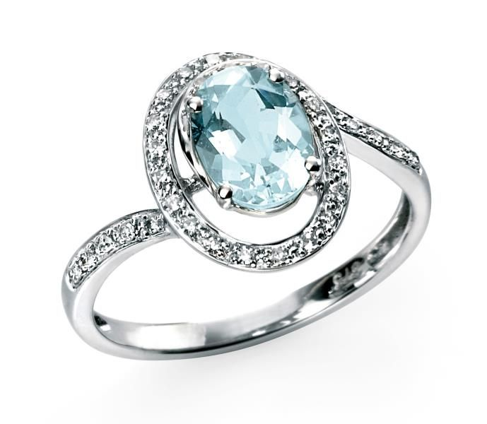 Elements Gold for Ladies 9ct White Gold Diamond and Aquamarine Twist Ring DLmMPlCyFQ