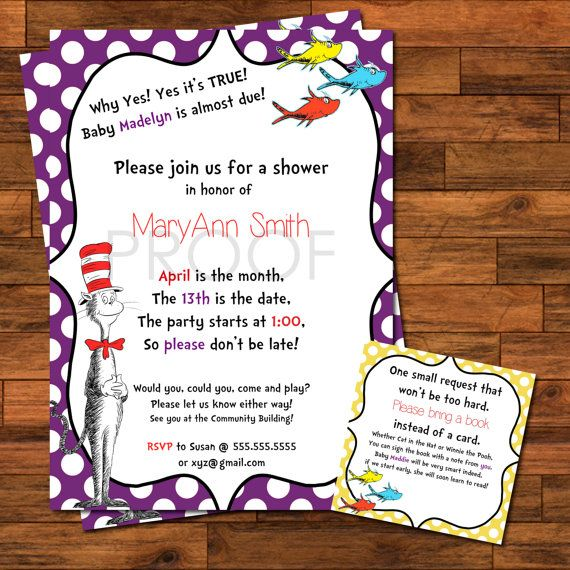 Dr Suess Baby Shower Invitations  5x7 or by AlexisScottInteriors, $17.00