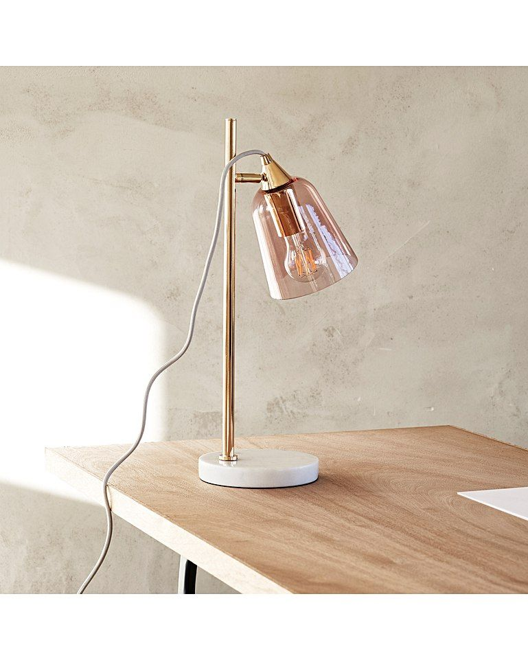 Glass Shade Marble Table Lamp Table Lamp Marble Lamp Rose Gold