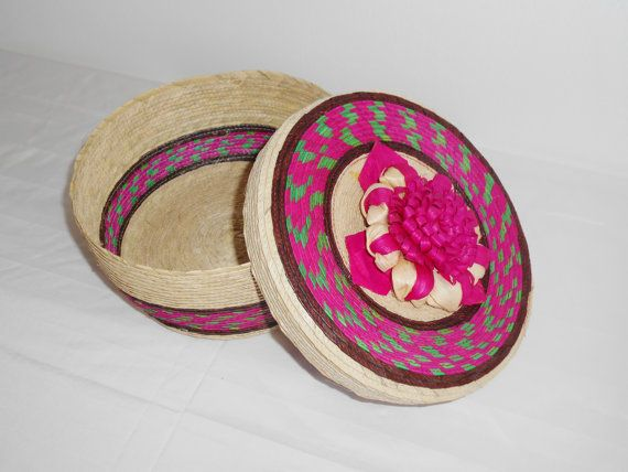 Mexican pink tortilla case or basket with flower on the by MEXNIA