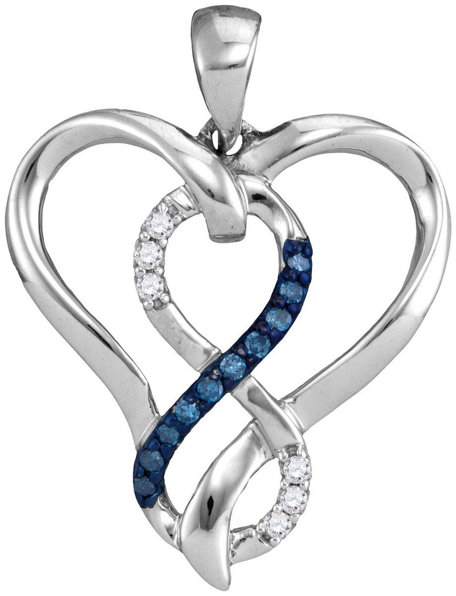 Sterling silver womens round blue colored diamond heart infinity