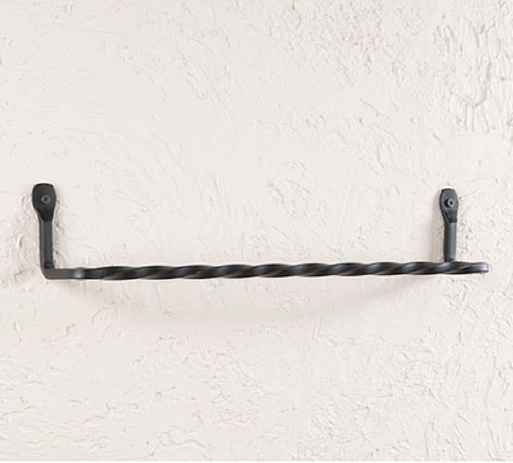 16 Twisted Wrought Iron Towel Bar Primitive Usa Amish Blacksmith