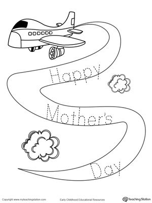 trace the sign happy mother 39 s day drawing coloring worksheets. Black Bedroom Furniture Sets. Home Design Ideas