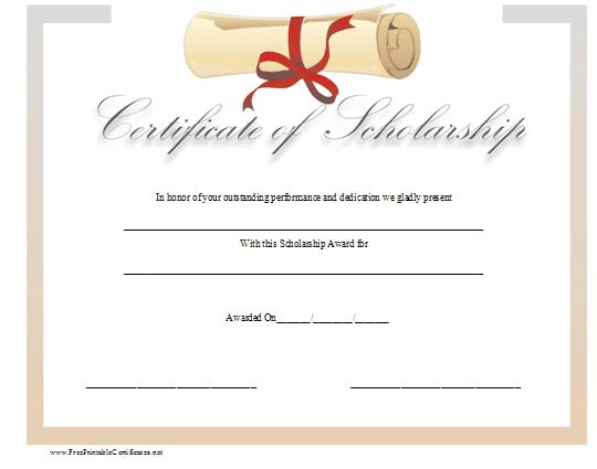 Scholarship Certificate Template in Word Format Microsoft Office – Sample Scholarship Certificate
