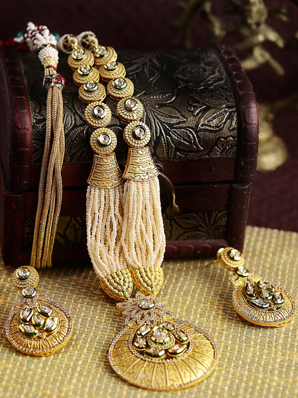 Dhruvi by zaveri pearls goldtoned long kundan u cubic zirconia
