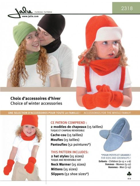 977586613a5a1 Jalie 2318 - Fleece Accessories for Children and Adults