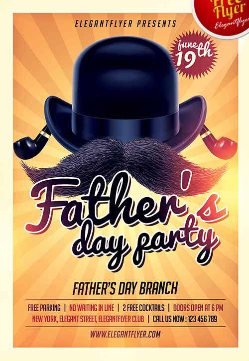 Fathers Day Party Free Flyer Template  HttpFreepsdflyerCom