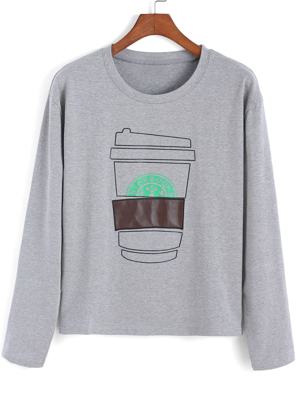 Camiseta cuello redondo taza crop -gris - SHEINSIDE (10.58 euros)