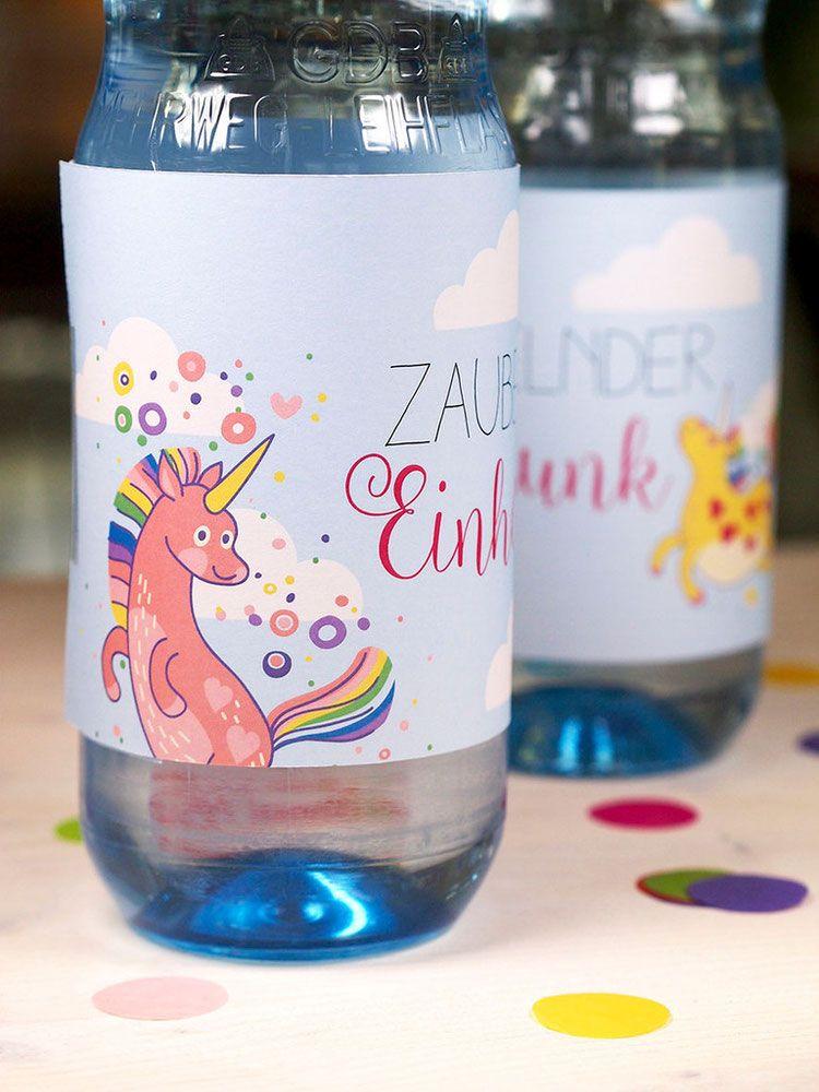 diyvorlage für wasserflaschen voll einhorntrunk