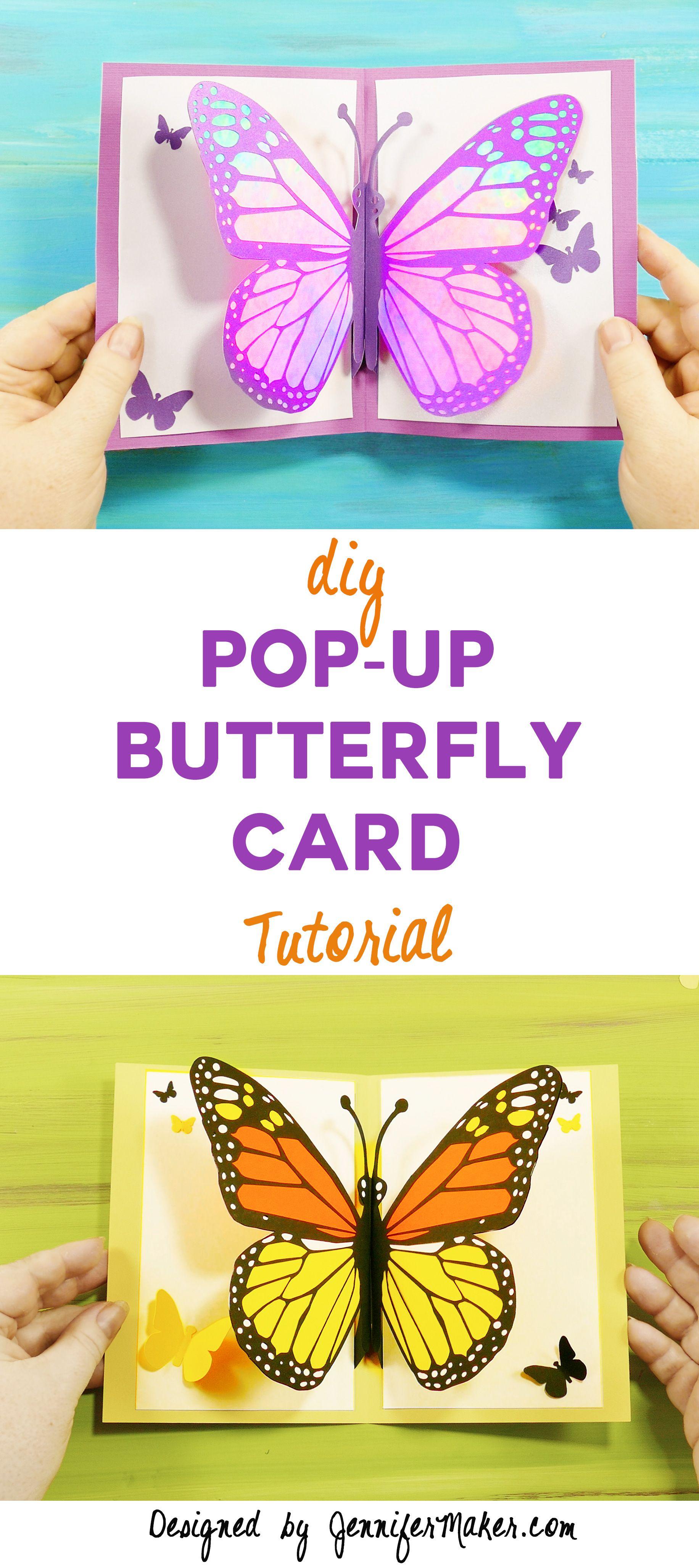 Easy Butterfly Card Diy Pop Up Tutorial Jennifer Maker Diy Pop Up Cards Butterfly Cards Birthday Cards Diy