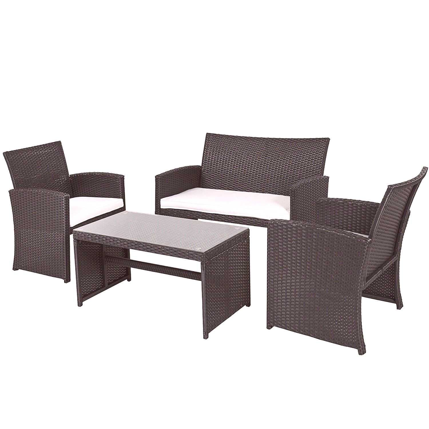 #cushions4piece #furniture #cushions #outdoor #wicker #4piece #white #resin #black #patio #with #seat #set Black Resin Wicker 4-Piece Outdoor Patio Furniture Set with ...