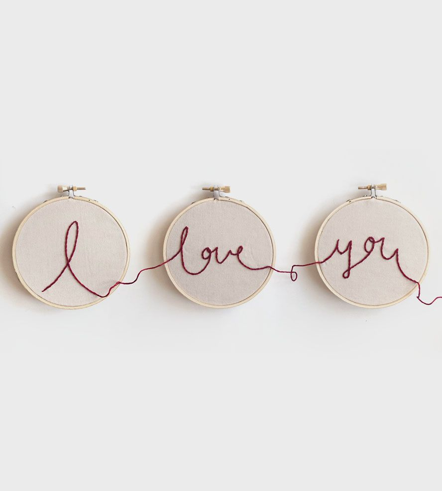 I Love You Embroidery Hoop Art   A sweet nod to all things romantic, this lovely piece of wall ...   Cross-Stitch & Embroidery