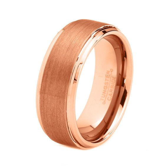rose gold wedding band ring tungsten carbide 8mm by giftflavors 7777