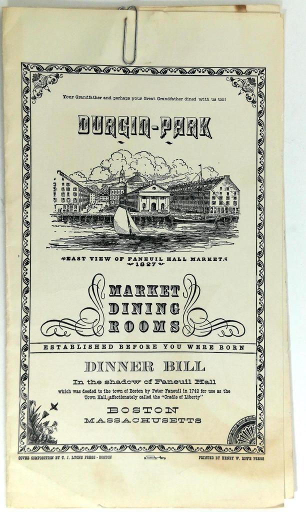 1950's DURGIN PARK Market Dining Room Restaurant Menu