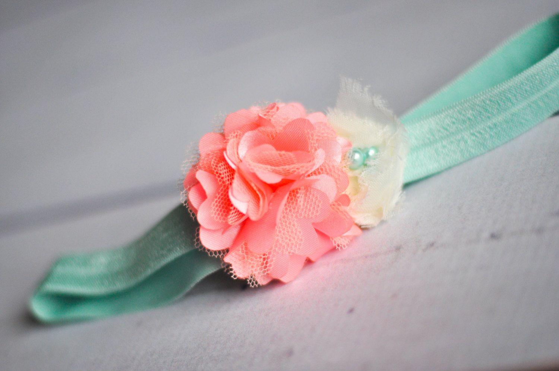 Baby Headband, Coral and Aqua, Toddler Headband, Flower Girl, Flower Headband, Newborn Headband, Infant Headband, Newborn Photo Prop. $11.00, via Etsy.