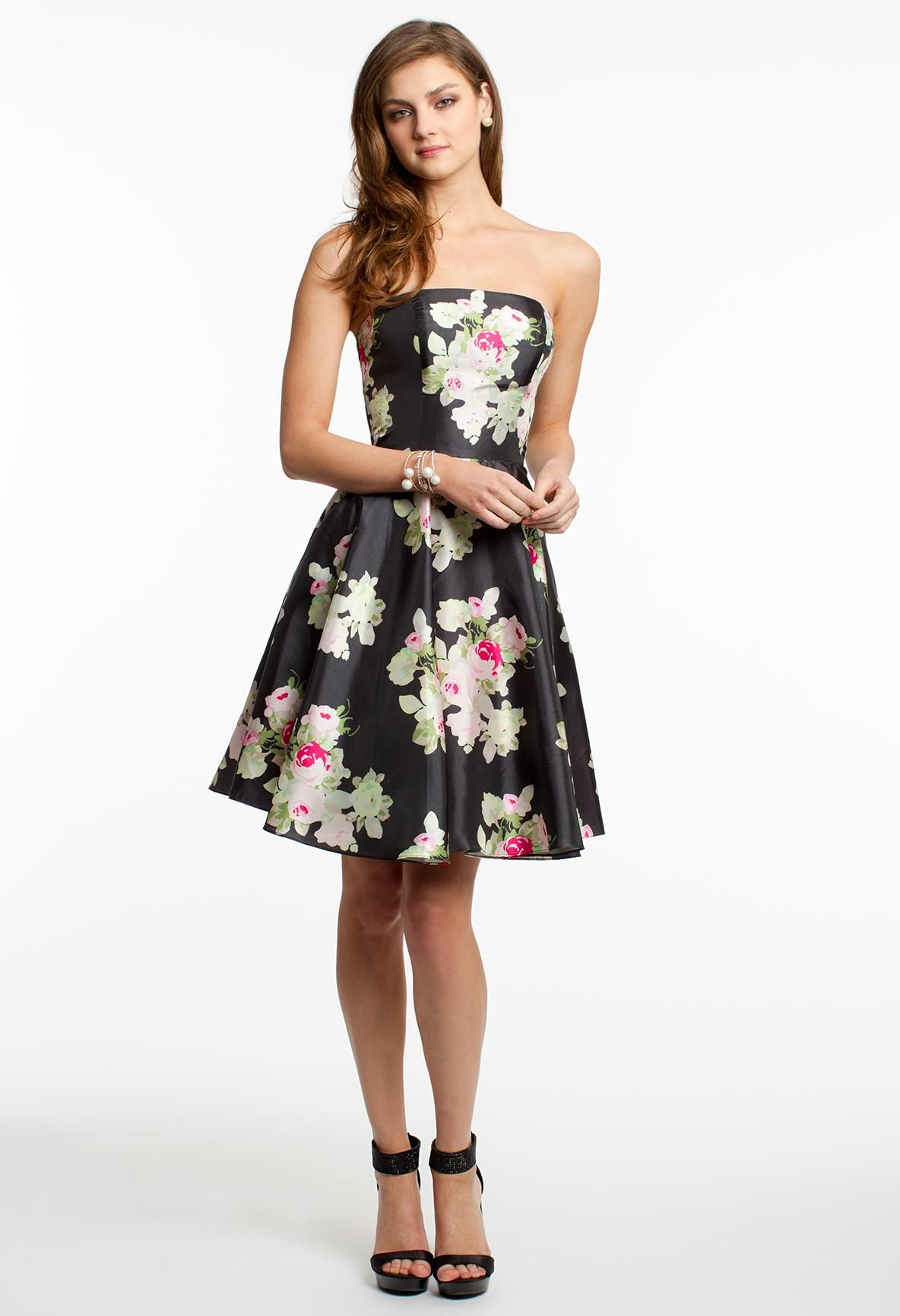 Floral print short party dress camillelavie clvprom trend report