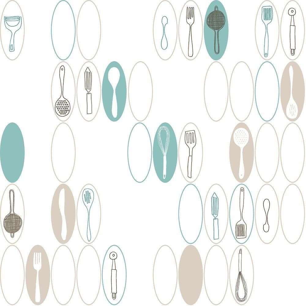 York Wallcoverings 56 Sq Ft Kitchen Utensils And Ovals Wallpaper Kb8585 At The Home Depot Kitchen Utensil Wallpaper Kitchen Wallpaper Wall Coverings