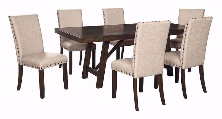 Rokane Dining Table With Six Chairs Brown Dining Table Dining