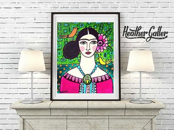 DIGITAL Print File - Frida Kahlo Mexican Folk Art Art Print Poster by Heather Galler