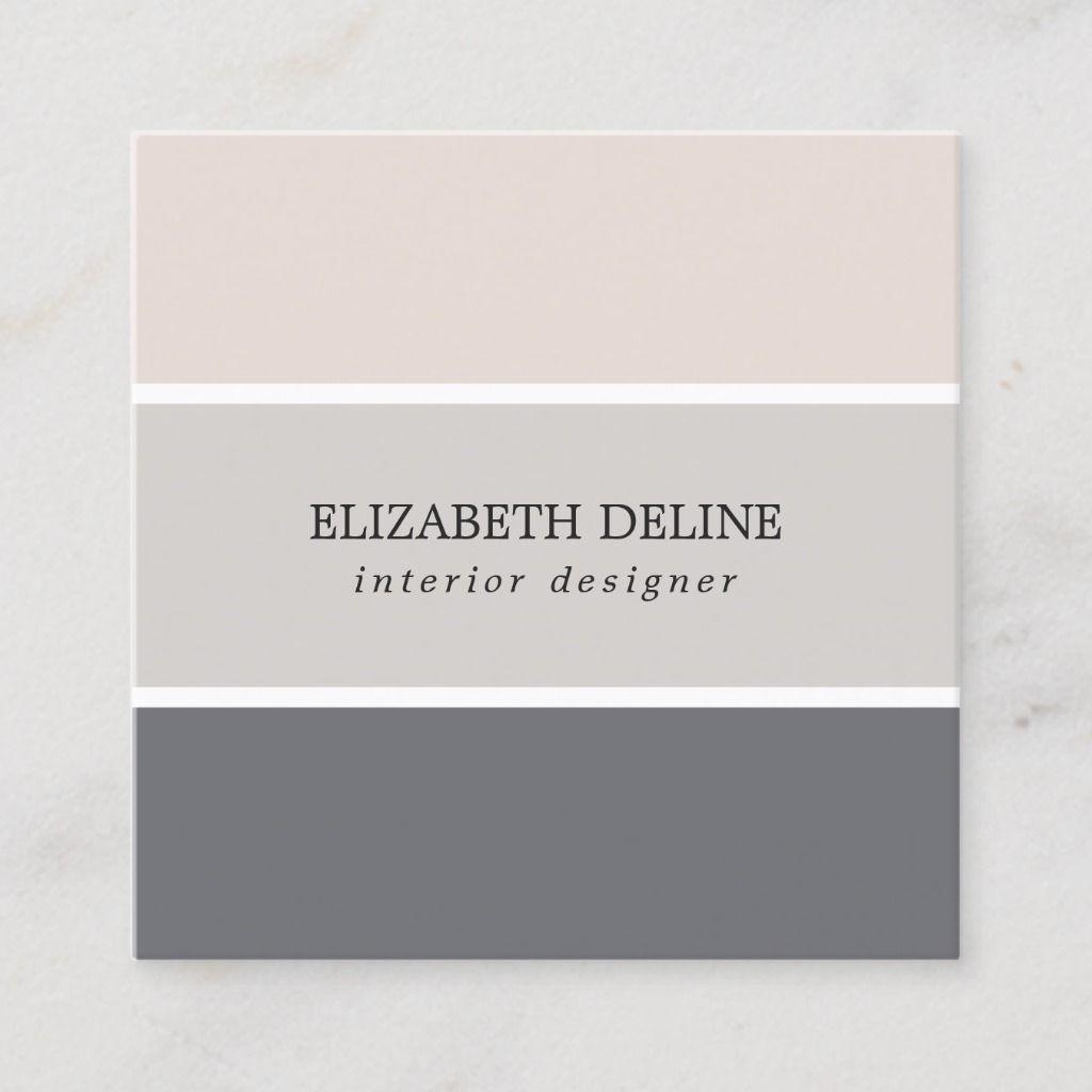 Modern Elegant Pastel Stripes Interior Designer Square