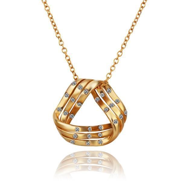 Plated Curved Triangular Emblem Necklace, Women's