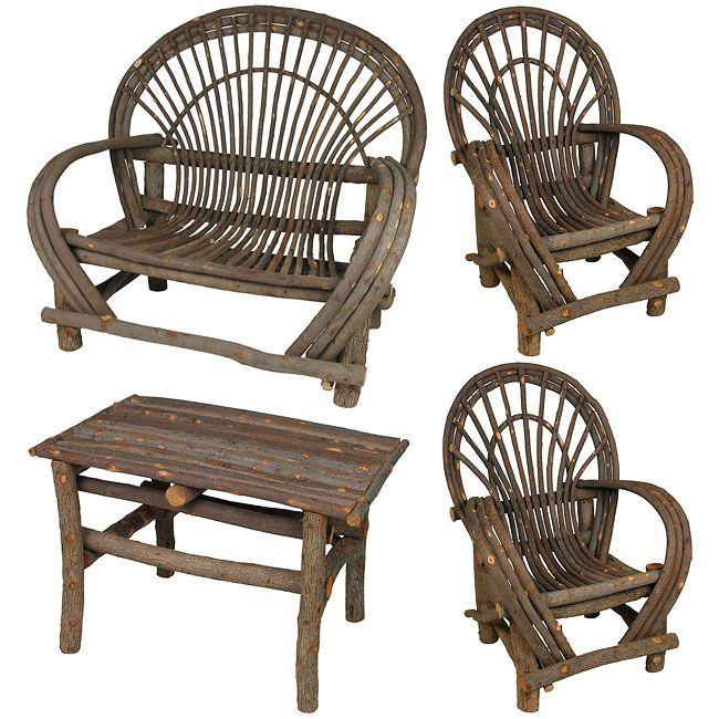 Rustic Twig Furniture 4 Piece Patio Set, Rustic Patio Furniture Set