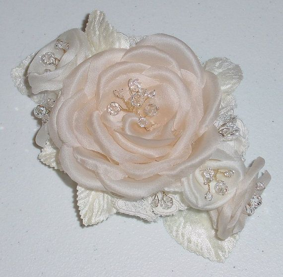Pressed Wedding Flowers: Hand Pressed Silk Satin Flower Wedding Fascinator By