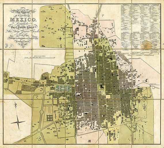 Map of Mexico City 1793 Old Mexico City map in 3 by RobertsMaps