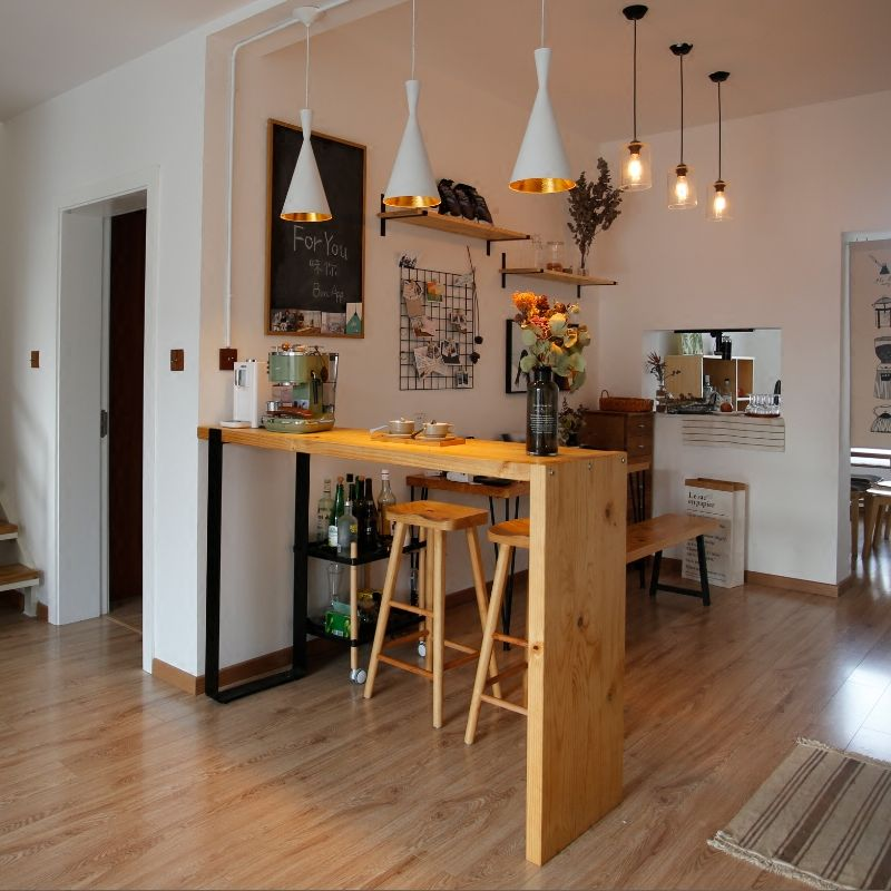 实木家庭吧台餐桌客厅隔断家用小吧台桌厨房简约现代酒吧台高脚桌 淘宝
