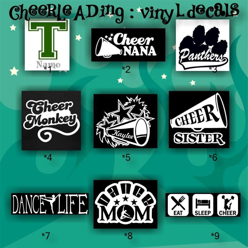 Cheerleading vinyl decals 1 9 car stickers cheerleader sticker car decal custom vinyl decals personalized stickers