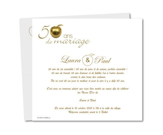 Carte Dinvitation Anniversaire De Mariage 50 Ans Pomme Dor En 2019