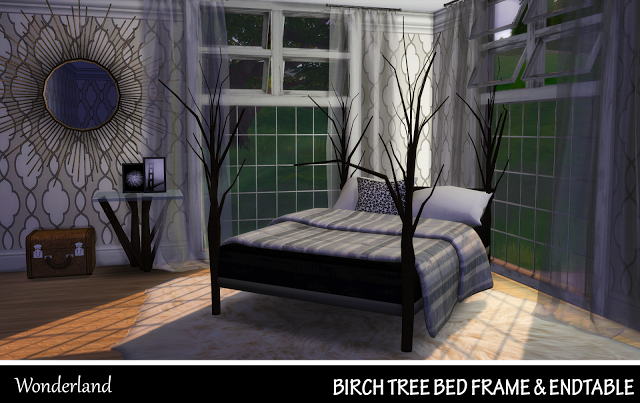 Sims 4 CC's - The Best: Birch Tree Bed Frame and End Table by Sims4Wonderl...