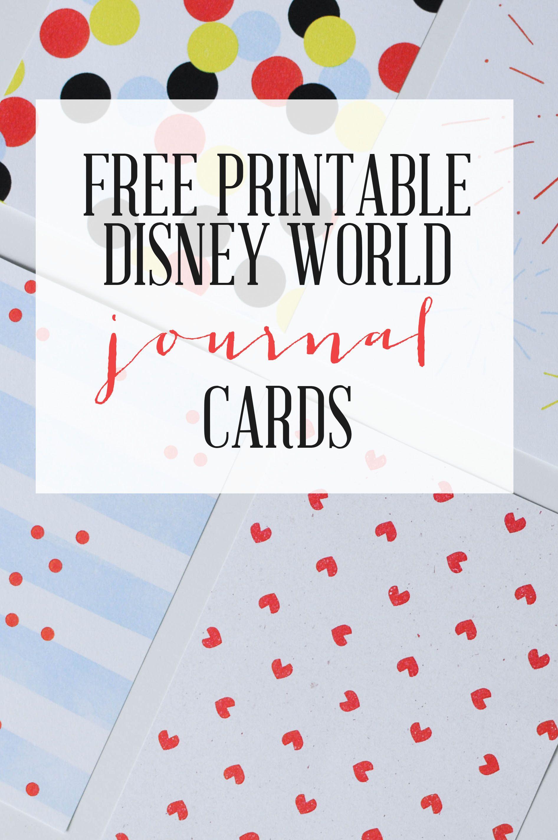 Scrapbook journaling ideas free - Free Printable Walt Disney World Journal Cards