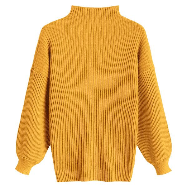 Pullover Lantern Sleeve High Neck Sweater Mustard ($24) ❤ liked ...