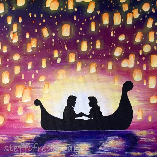 Stephanie Frederick On Instagram I Haven T Showed You Guys Any Close Ups Of My Tangled Painting Disney Canvas Art Tangled Painting Disney Canvas Paintings