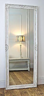 "Gerona White Shabby Chic Leaner Vintage Dress Mirror 25"" x 63"" X Large | eBay"