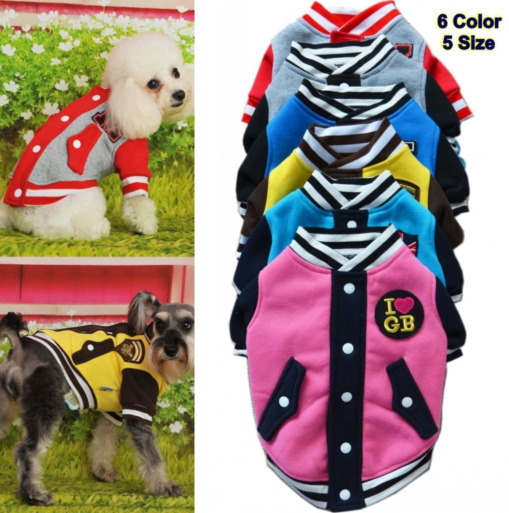 Classic Letter Pocket Pet Dog Coat Clothes For Small Dog Sweater Fashion Cotton Large Dogs Teddy Sports Hoodies Baseball Uniform Keep You Fit All The Time Dog Hoodies