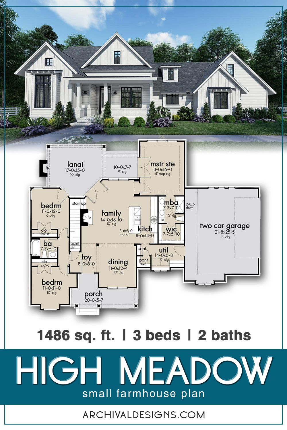 High Meadow Small Farmhouse Plan With Huge Laundry And Bonus Rooms Small Farmhouse Plans Farmhouse Plans Modern Farmhouse Layout