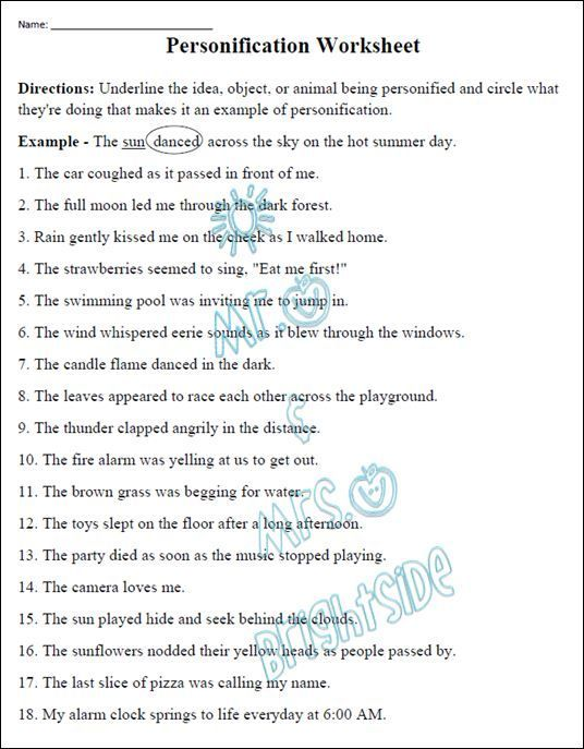 Figurative Language Personification Worksheet Pinterest