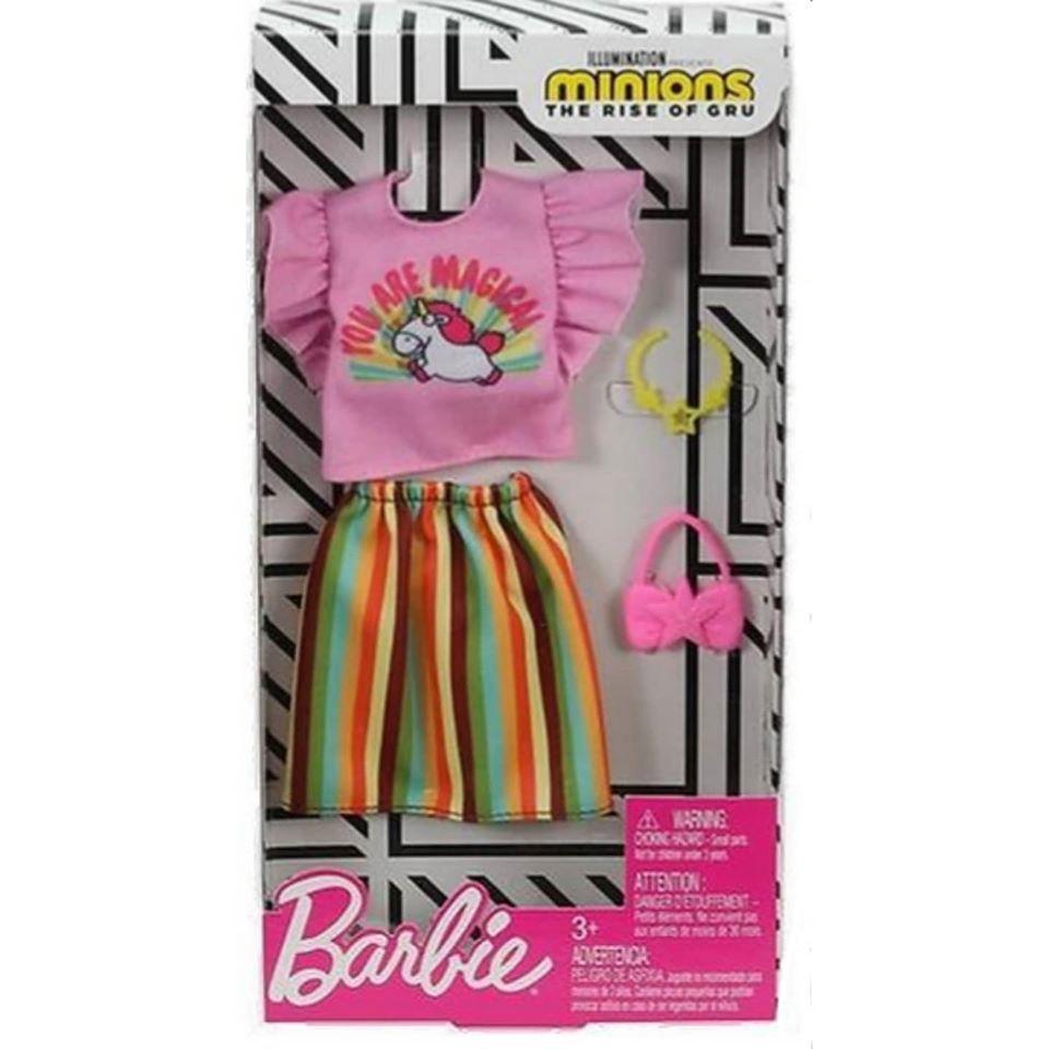 Barbie Doll Minions Rise Of Gru Fashion Clothes  Top Shirt Dress Skirt Set 4 New
