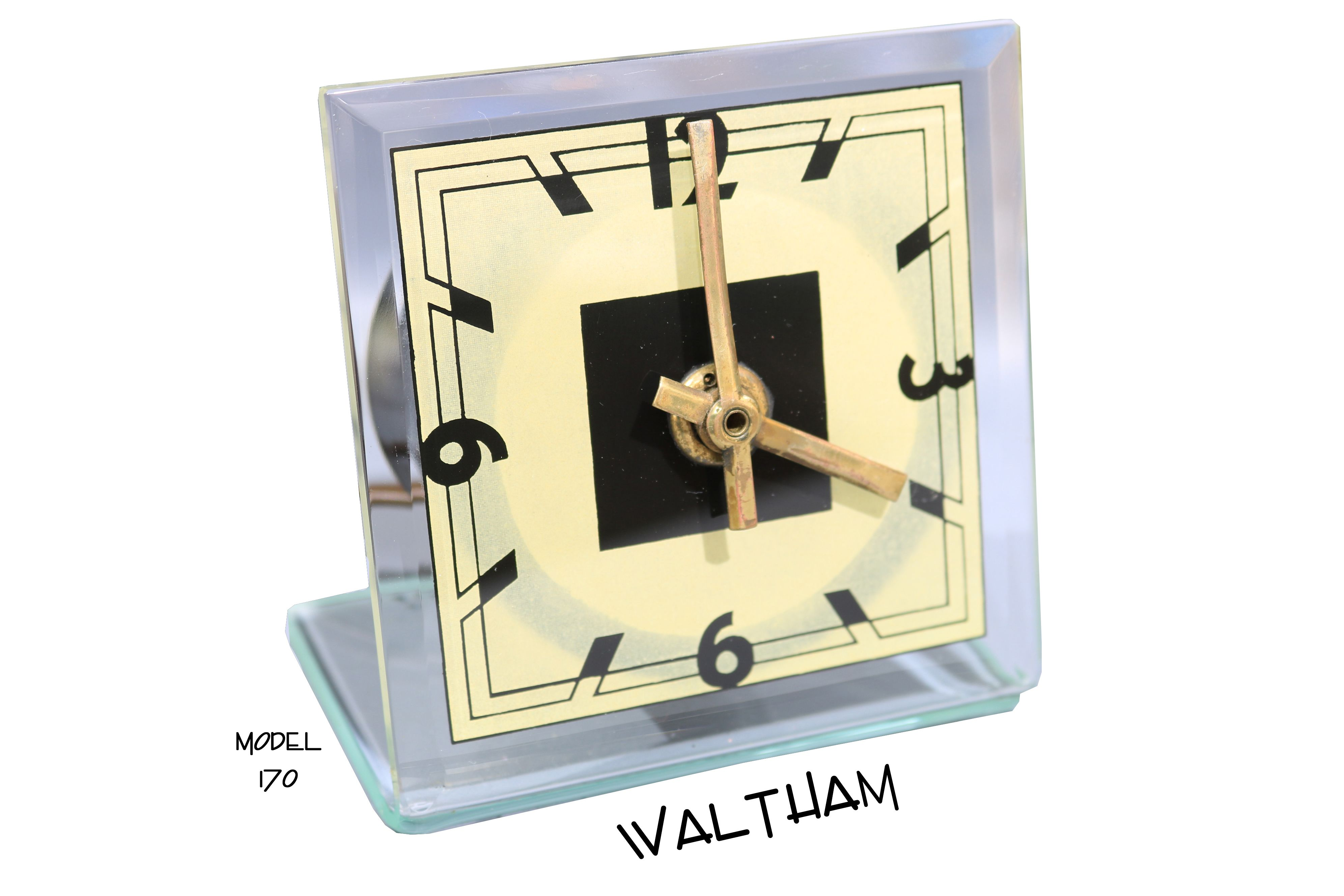 Waltham small art deco clear crystal bent \
