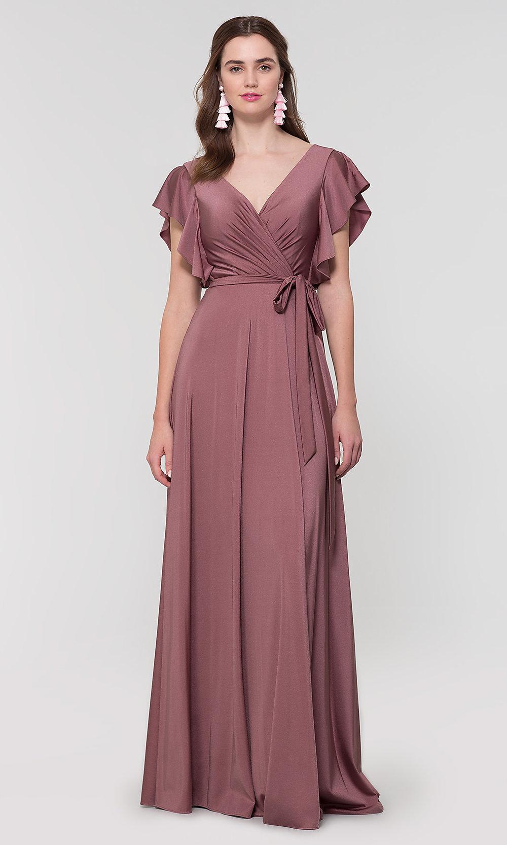 Faux Wrap Lange Jersey Brautjungfer Kleid Von Kleinfeld Brautjungfernkleid Armel Brautjungfern Kleider Kleid Mit Armel