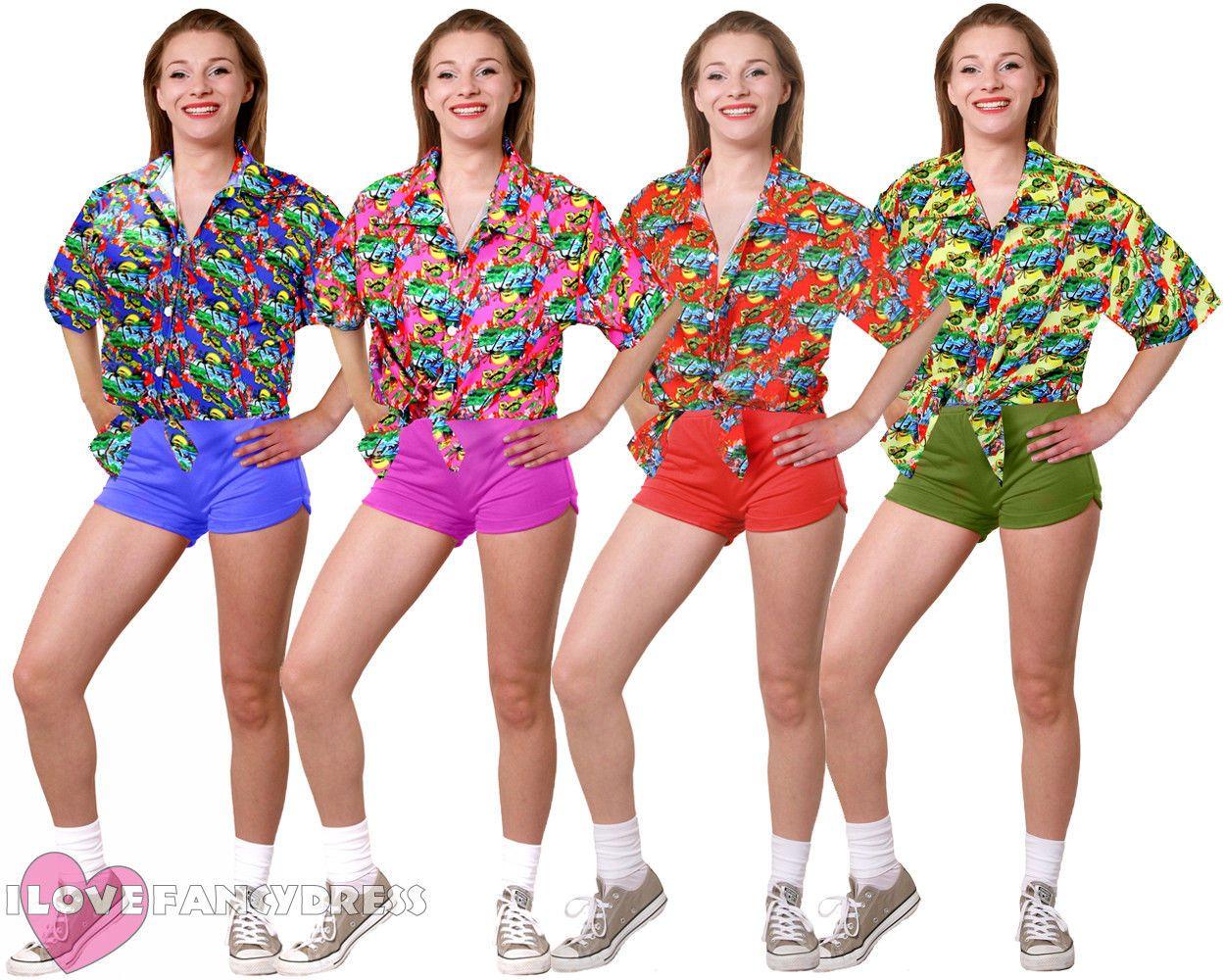 PINK HAWAIIAN SHIRTS Surfer Aloha Luau Festival Student Party Fancy Dress Up UK