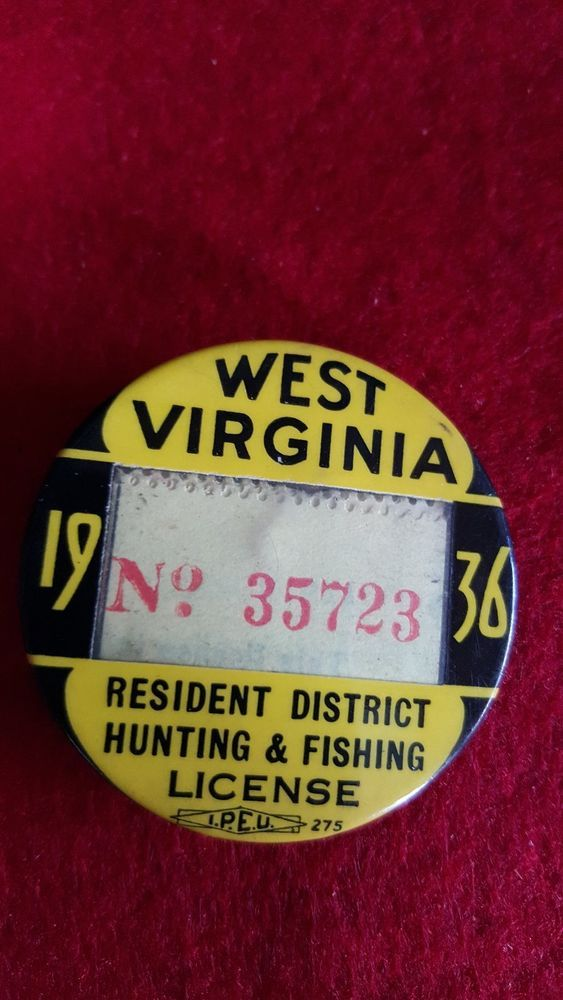 1936 West Virginia Resident Hunting Fishing License West