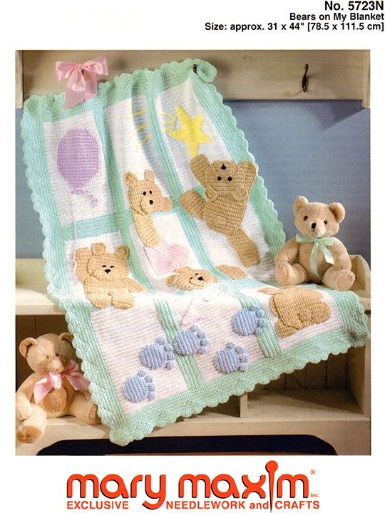 Crochet this blanket using Mary Maxim DK/Sport Weight yarn.   Baby ...