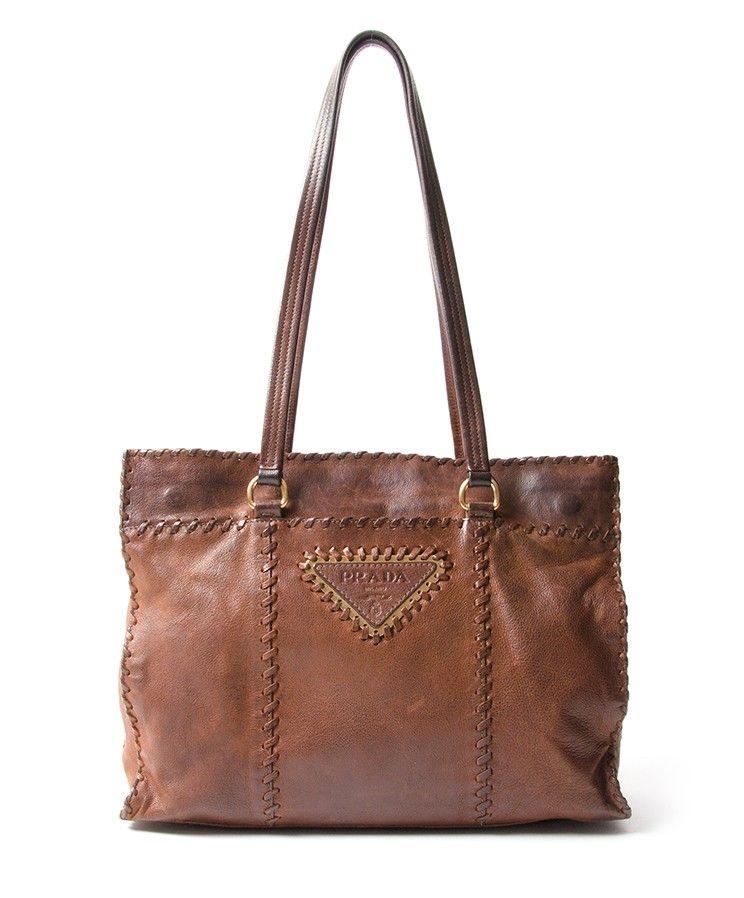 b78804f9cc98 buy safe online secondhand designer vintage prada cognac shoulder topbag  best price webshop