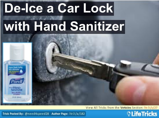 Hand Sanitizer Is A Fast Way To Unlock A Frozen Car Door Winter