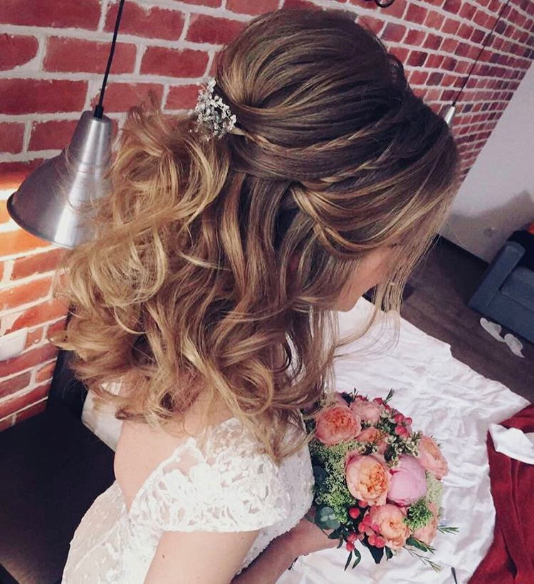 Wedding Hairstyles Down Curly: 33 Half Up Half Down Wedding Hairstyles Ideas