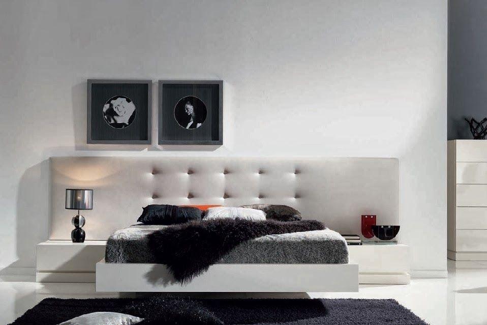 Dormitorio CATIA de Expormim. Cabecero tapizado; cama, mesitas ...