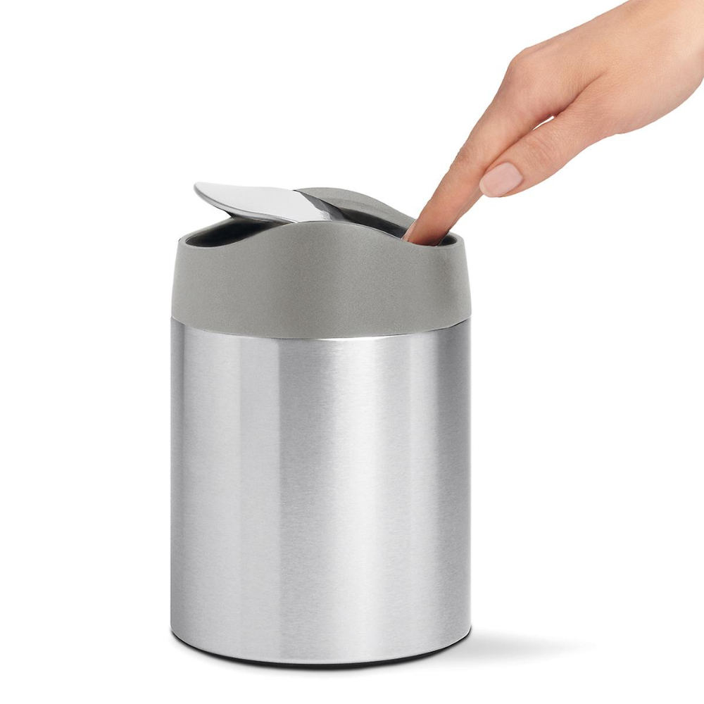 Simplehuman Stainless Steel Swing Lid Countertop Trash Can The